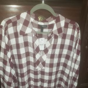 Lane Bryant sz 24 long sleeve plaid shirt